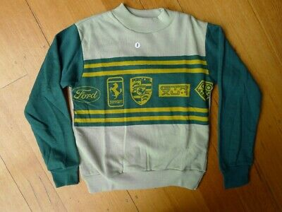 Vintage 60s unused 6 - 7 years children's unisex boys sweatshirt green car logos