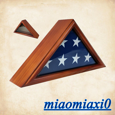 3*5 Wooden Flag Display Case Box Frame for Military Service Veteran Flag Brown