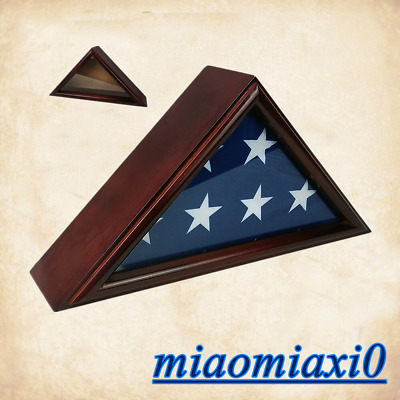 3*5 Wooden Flag Display Case Box Frame Military Service Veteran Flag Deep Cherry