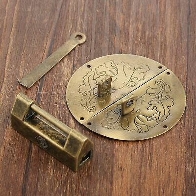 Chinese Old Jewelry Box Latch Catch Hasp & Padlock Set Chest Cabinet Hardware