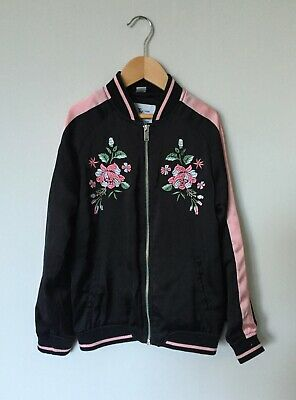 TU Black Satin Bomber Jacket 10 Years With Tiger Embroidery On Back VGC