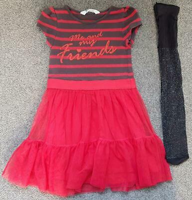 Gorgeous Girls, 2 Piece Outfit, Red/Black Dress & Glittery Tights, 4-5 Years