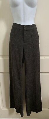 Elevenses Anthropologie Taupe Tweed BRIGHTON Trousers w/ Buttoned Legs Sz US 6