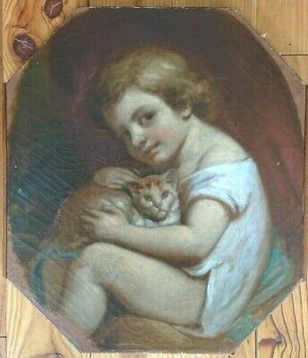 large Portrait of a child with kitten cat - Oil Painting early 19th Century