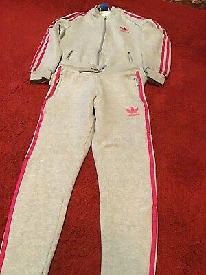 Girls Adidas Tracksuit Grey With Pink Detail Age 9/10