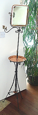 French Arts & Crafts Shaving Toilet Floor Stand Mirror Wrought Iron Copper Brass
