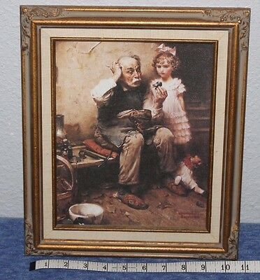 Vintage    Norman Rockwell   Painting    The Cobbler    Antique  11 x 13  Frame