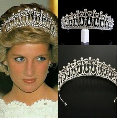 Princess Diana Inspired Crystal Pearl Rhinestone Tiara Bridal Wedding Crown