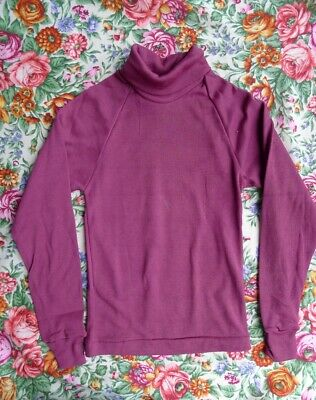 Vintage 70s new old  years 6 - 7 children's unisex  turtle neck red top cotton