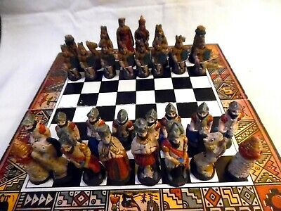 Vintage Chess Set Wood Board With Ceramic Pieces Hand Painted
