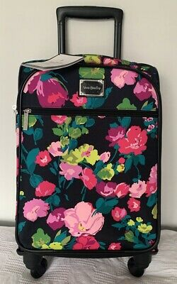 """Vera Bradley 22"""" Spinner Rolling Luggage Hilo Meadow Wheeled Carry-On Suitcase"""