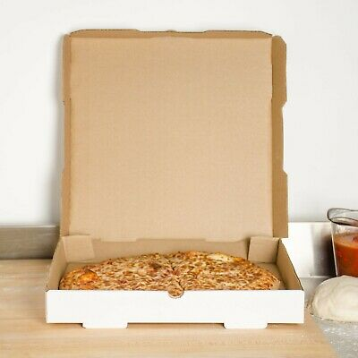 "Plain White 14"" x 14"" x 1 3/4"" Square Size Durable Bakery Corrugated Pizza Box"