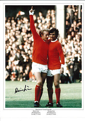 Denis Law Manchester United signed authentic 16 x 12 football photograph SS508