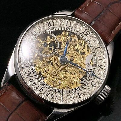 MONTBLANC Antique Art Deco Skeleton Hand winding Silver Gold Leather 42mm Men's