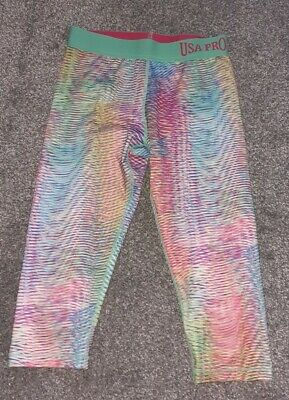 Girls Usa Pro 3/4 Capri Pants Leggings Multicoloured 11-12 Years Running