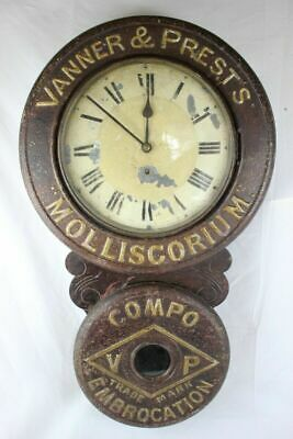 Antique AFTER BAIRD VANNER & PRESTS MOLLISCORIUM WALL ADVERTISING CLOCK