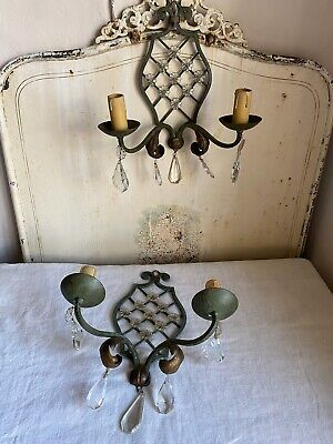 Vintage French Lighting, Wall Sconces Green Lattice Rococo & Crystal Beads /Pair
