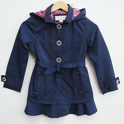 Gorgeous Genuine MICHAEL KORS Girl's Navy Blue Trench Coat with Hood age 6 years