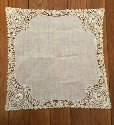 Fine Antique 1800's hand embroidered Schiffli Lace Wedding handkerchief
