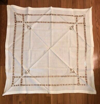 "Elegant Antique Cutwork Lace Tablecloth Table Topper 34"" Square. Exquisite"