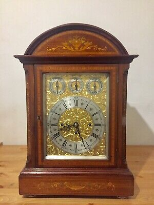 Antique Huge English Made Triple Fusee 8 Bells And 5 Gongs Bracket Clock C1870