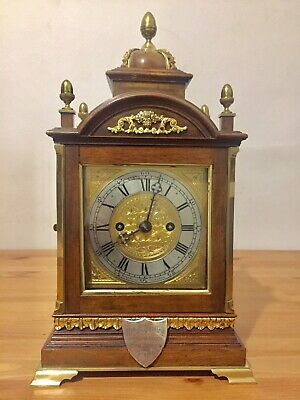 Antique English Made Double Fusee Gong Striking Walnut Cased Bracket Clock C1890