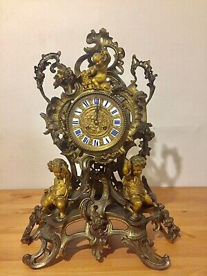 Antique Huge Heavy Gilt Bronze Rococo Mantle Clock C1890