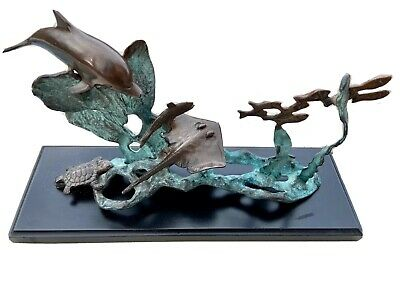 SPI San Pacific International Metal Sculpture Coral Reef Dolphin Turtle Stingray