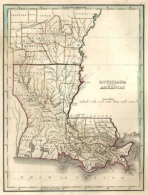 Louisiana & Arkansas State Maps New Orleans 1835 Bradford early U.S. map