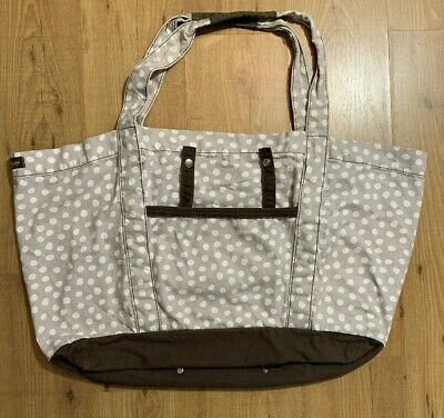 Thirty One XL Duffle Bag Weekender Cotton Tan Brown White Dots Tote Fold Up Snap