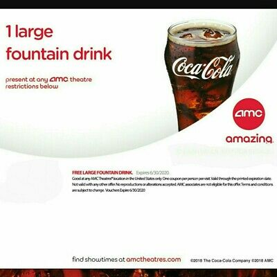 AMC 5 (five) Large Fountain Drinks - expires 6/30/20 - E -Delivery