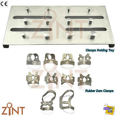Endodontics Rubber Dam Clamps Universal Brinker Ivory Clamp Set Holding Tray X11