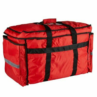 22'x13 x16' Heavy-Duty Insulated Red Nylon Food Delivery Bag/Pan Carrier-