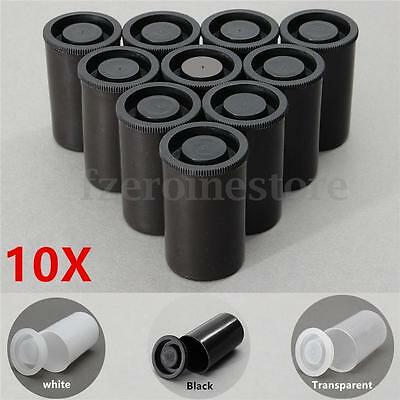 10 Empty Black White Bottles 35mm Film Cans Canisters Containers for Kodak Fuji