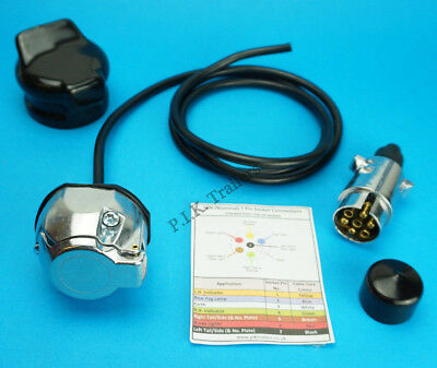 Pre-wired 7 Pin METAL Towing Socket with 7 Pin Plug & Covers - Trailer Horse box