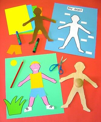 MY BODY stencil wooden  template person Montessori Science