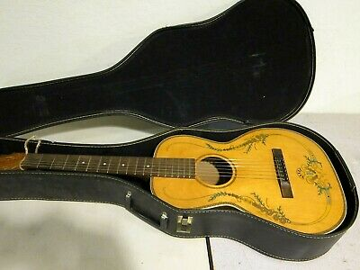 Antique Stromberg Floral Parlor Acoustic Voisinet Guitar 1920s-30s W/ Case