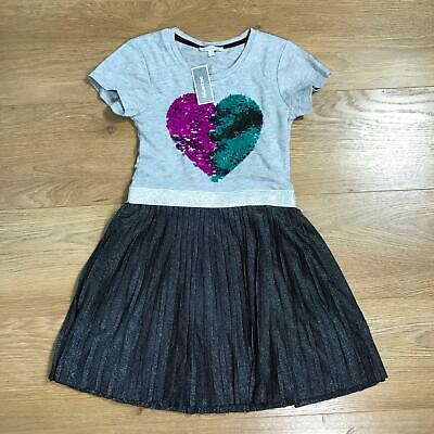Blue Zoo Girls Jersey Dress Age 8-9 Grey Sequinned Heart Sparkly Black Pleated