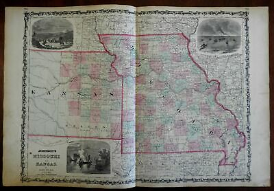Missouri and Kansas Decorative Vignettes 1862 Johnson & Ward map Scarce Issue