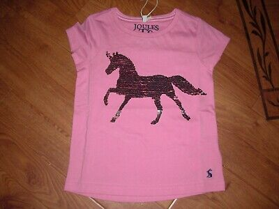 Bnwt Joules Girls Astra Pink Sequin Horse T-Shirt Top Age 6 Yrs.rrp £19.95