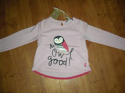 Bnwt Joules Baby Girls Bessie Pink Its Owl Good Long Sleeved Top Age 1 Yr.£14.95