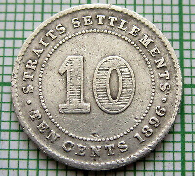 Straits Settlements Malaysia Singapore Queen Victoria 1896 10 Cents, Silver