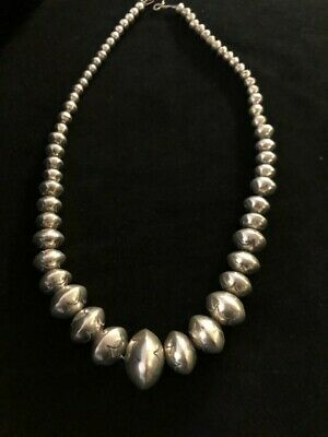 Sterling Silver Navajo Pearls Stamped Bead Necklace