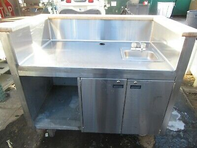 Stainless Steel Espresso Cart/Bar With Water Heater/Sink On Casters