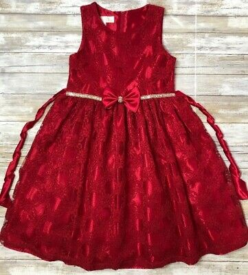 EUC American Princess sz 12 Red Satin & Lace Party Dress Girls Bow Bling Jewels