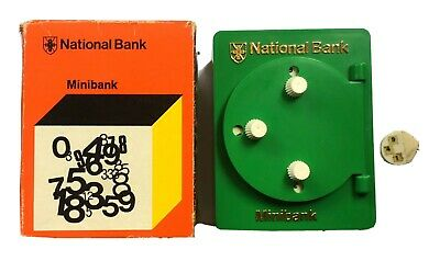 Vintage Green NATIONAL Bank MINIBANK Combination Safe MONEY Box, Moneybox