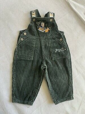 Retro 90's green thick corduroy baby boy size 0 MICKEY DISNEY overalls