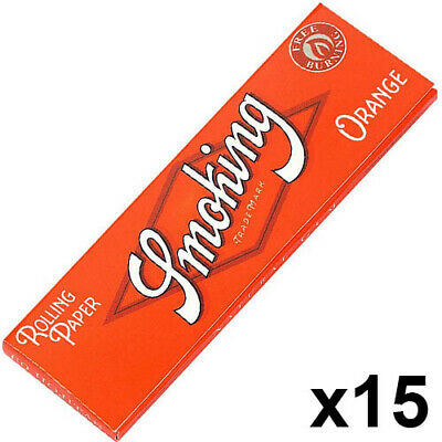 SMOKING Regular Orange Rolling Cigarette Papers ~ 15 Booklets / 900 Leaves