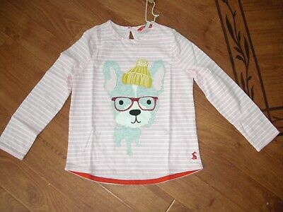 Bnwt Girls Joules Ava Pink Stripe Dog Long Sleeved Top Age 5 Yrs.rrp £19.95