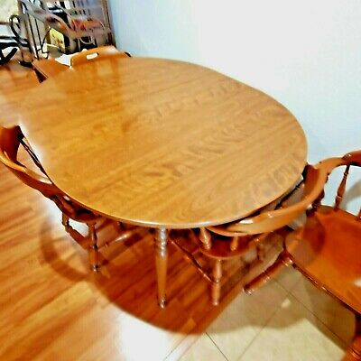 """Ethan Allen Heirloom Dining room set 4 chairs Nutmeg 12"""" extension"""